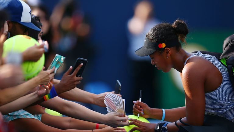 The second seed enjoyed time with the fans following her match