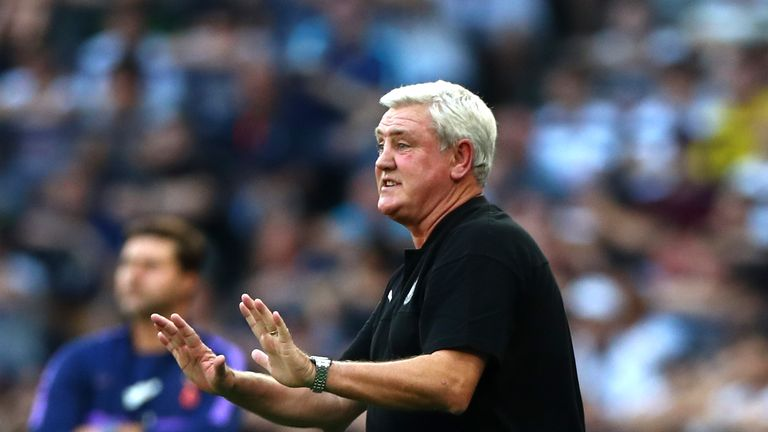 Steve Bruce watches on as Newcastle pick up their first victory of the camptain