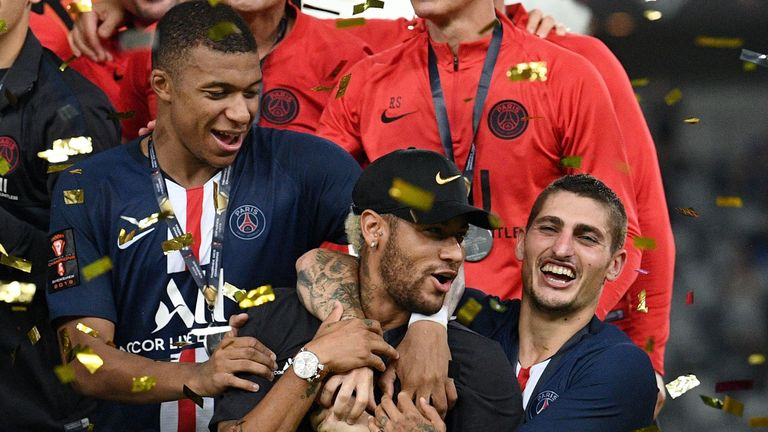 Neymar joined in the celebrations after PSG's 2-1 win