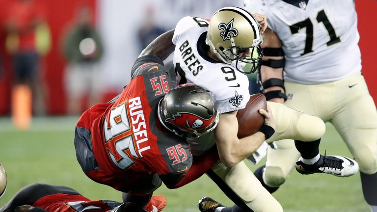 Defensive end Russell played in 23 games for Tampa Bay, registering 20 tackles and three sacks