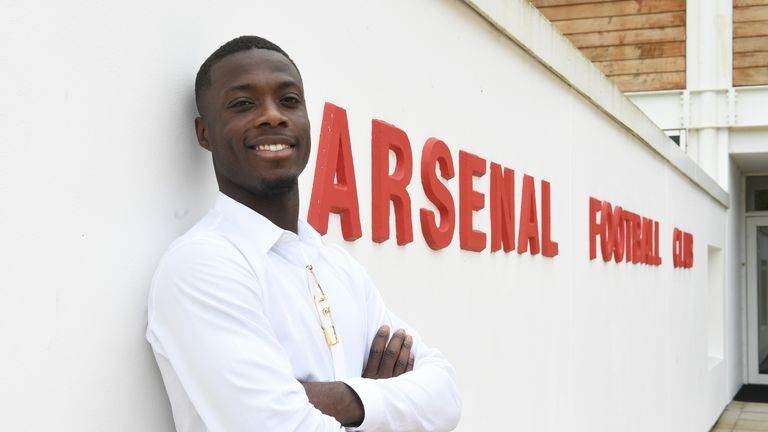 ST ALBANS, ENGLAND - JULY 31: Arsenal unveil new signing Nicolas Pepe at London Colney on July 31, 2019 in St Albans, England. (Photo by Stuart MacFarlane/Arsenal FC via Getty Images)
