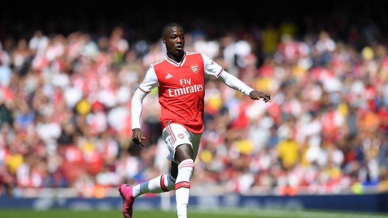 Nicolas Pepe in action for Arsenal vs Burnley