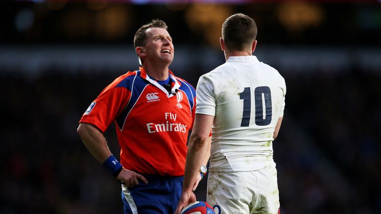 Nigel Owens and George Ford during the RBS Six Nations match between England and France at Twickenham Stadium on March 21, 2015 in London, England.