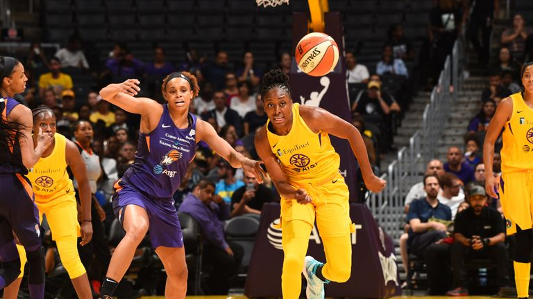 Nneka Ogwumike chases the ball down for the Los Angeles Sparks against the Phoenix Mercury