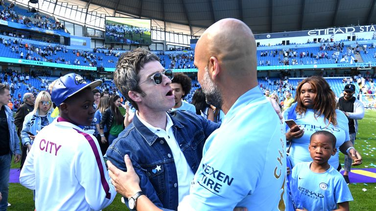 during the Premier League match between Manchester City and Huddersfield Town at Etihad Stadium on May 6, 2018 in Manchester, England.