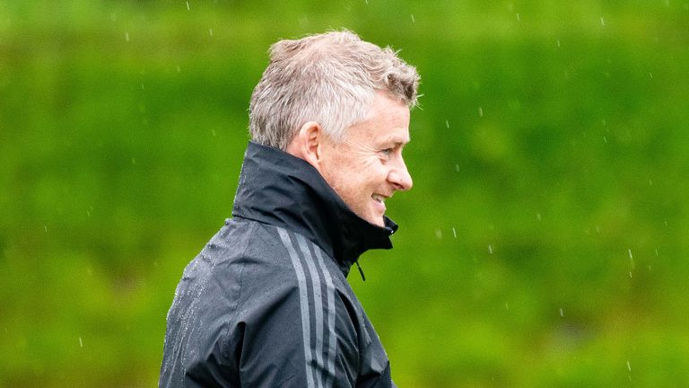 Manager Ole Gunnar Solskjaer of Manchester United in action during a first team training session at Aon Training Complex on August 14, 2019 in Manchester, England.