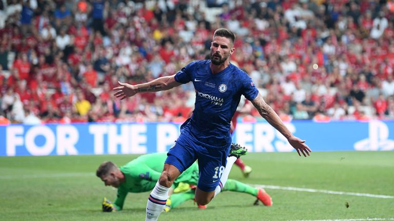 Olivier Giroud celebrates a goal for Chelsea