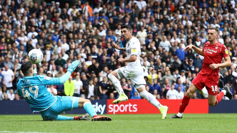 Pablo Hernandez gives Leeds a 1-0 lead at home to Nottingham Forest