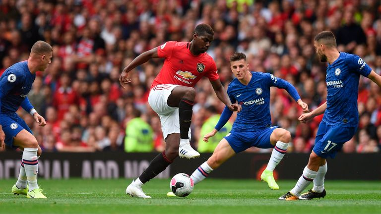 Paul Pogba registered two assists in United's 4-0 win over Chelsea on Sunday