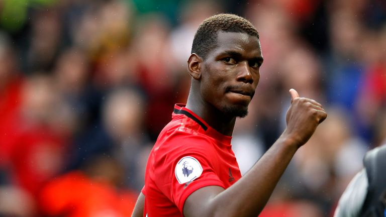 Manchester United's Paul Pogba gives a thumbs up after the Premier League match at Old Trafford, Manchester. PRESS ASSOCIATION Photo. Picture date: Sunday August 11, 2019.