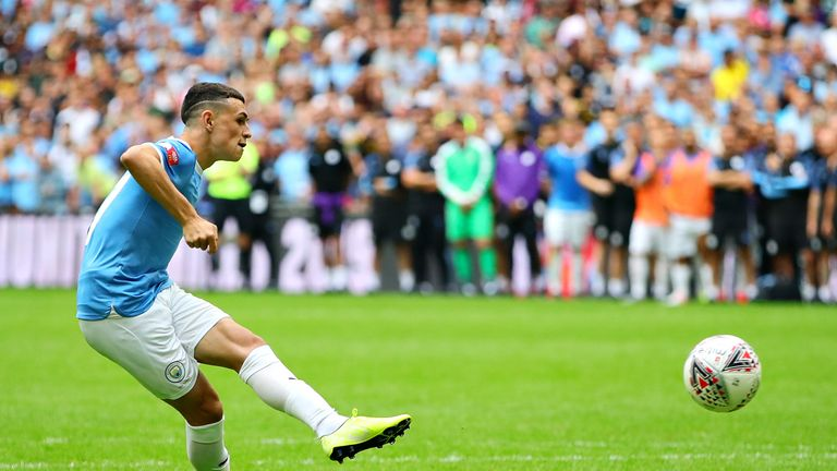 Foden scoring a penalty for City during the Community Shield