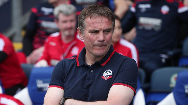 Phil Parkinson led Bolton to promotion in 2017 before their relegation back to the Championship in the summer