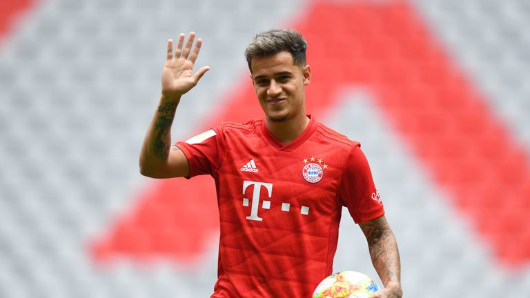 Philippe Coutinho poses at the Allianz Arena after joining Bayern Munich on a season-long loan
