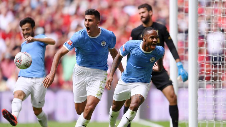 Raheem Sterling celebrates scoring for Manchester City against Liverpool in the Community Shield
