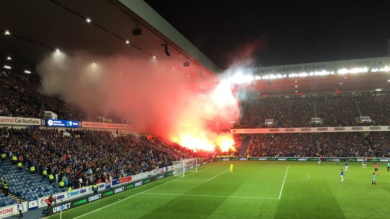 Legia Warsaw supporters set off flares at Ibrox