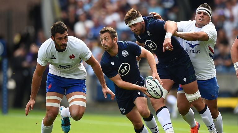 Scotland scrum-half Laidlaw looks to pass the ball against France on Saturday