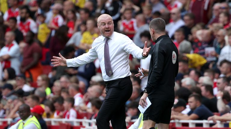 Burnley manager Sean Dyche gestures on the touchline during the Premier League match at The Emirates Stadium, London.