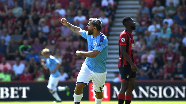 Sergio Aguero celebrates scoring for Manchester City against Bournemouth