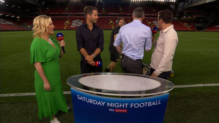 Gary Neville and Jamie Carragher are gatecrashed by a lawnmower