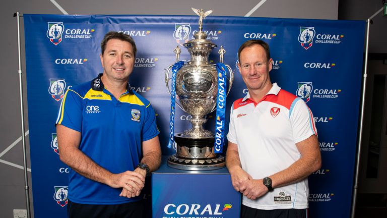 Picture by Paul Currie/SWpix.com - 19/08/2019 - Rugby League - Coral Challenge Cup Press Conference - Social 7, Manchester, England - St Helens head coach Justin Holbrook and Warrington Wolves head coach Steve Price pose with the Challenge Cup