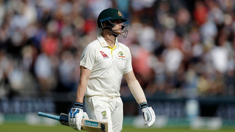 Steve Smith of Australia walks from the ground after being dismissed by Chris Woakes of England for 92 runs during day four of the 2nd Specsavers Ashes Test between England and Australia at Lord's Cricket Ground on August 17, 2019 in London, England.