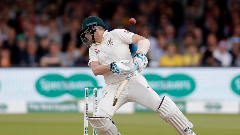 Steve Smith was struck on the neck by a delivery from Jofra Archer