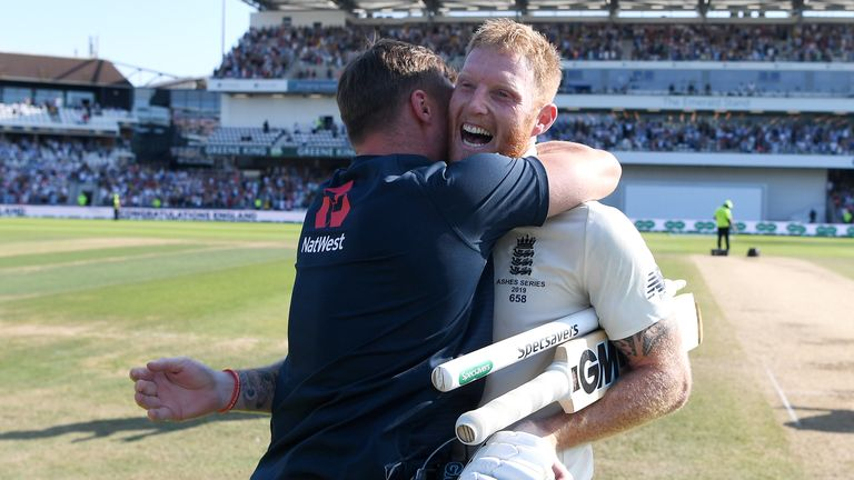 Jason Roy and Ben Stokes embrace following England's third Test win against Australia.