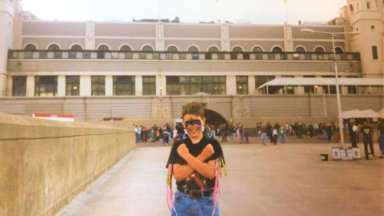 Matty Dybala soaks up the atmosphere outside Wembley in 1992