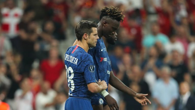 Teammates console Tammy Abraham after missing the decisive penalty in the UEFA Super Cup