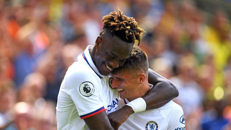 Chelsea's Mason Mount celebrates scoring his side's second goal of the game with Tammy Abraham
