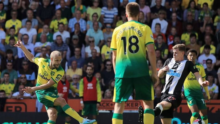 Teemu Pukki scores his and Norwich's second goal