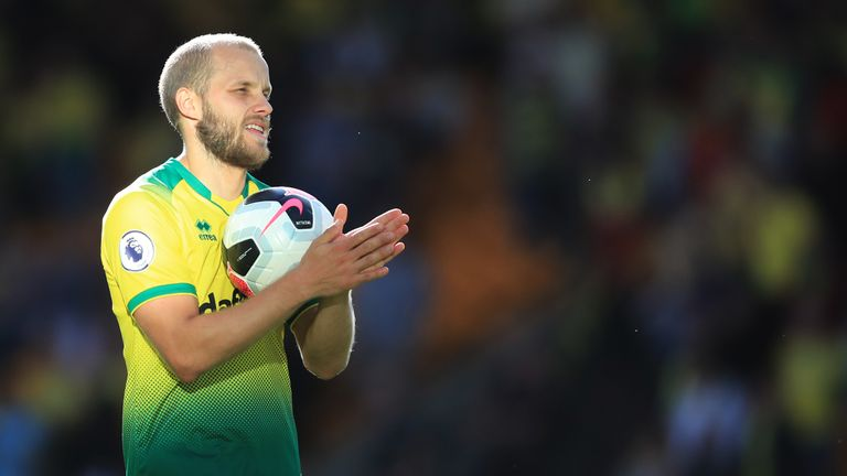 Teemu Pukki with the match ball at full-time
