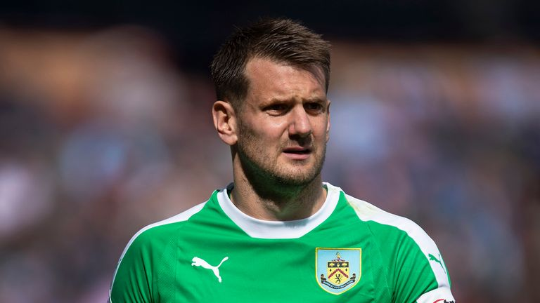 Burnley goalkeeper Tom Heaton during the Premier League match between Burnley FC and Manchester City at Turf Moor on April 28, 2019 in Burnley, United Kingdom.