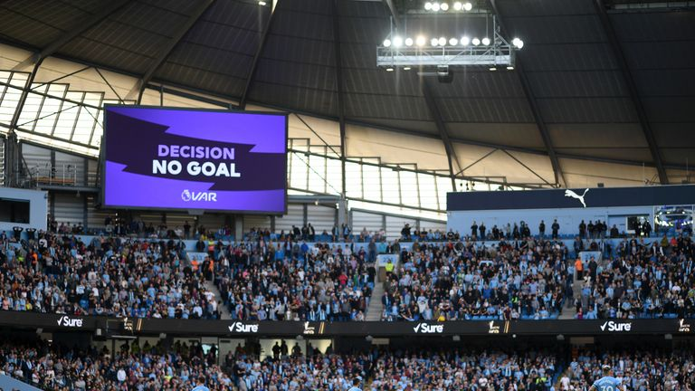 The overturned goal is displayed at the Etihad after a VAR review