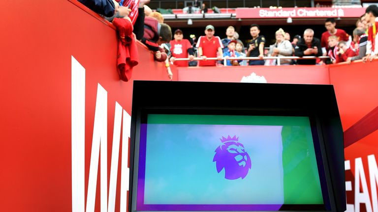 The VAR screen is pictured in the tunnel area at Anfield prior to the Premier League match between Liverpool and Norwich City