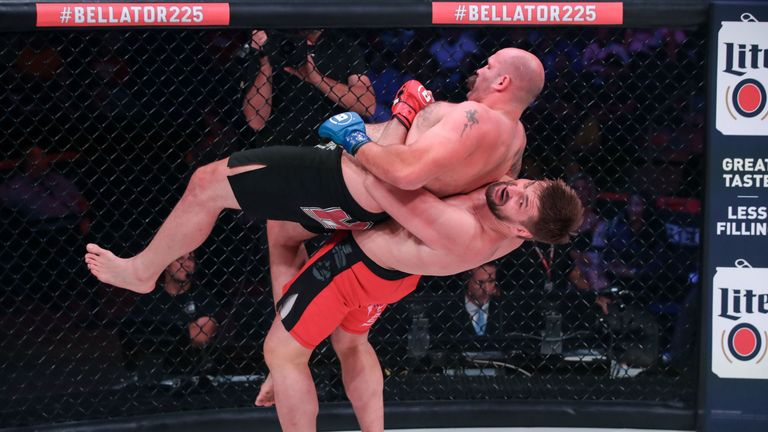 Vitaly Minakov hit Tim Johnson with a German Suplex during the co-main event at Bellator 225