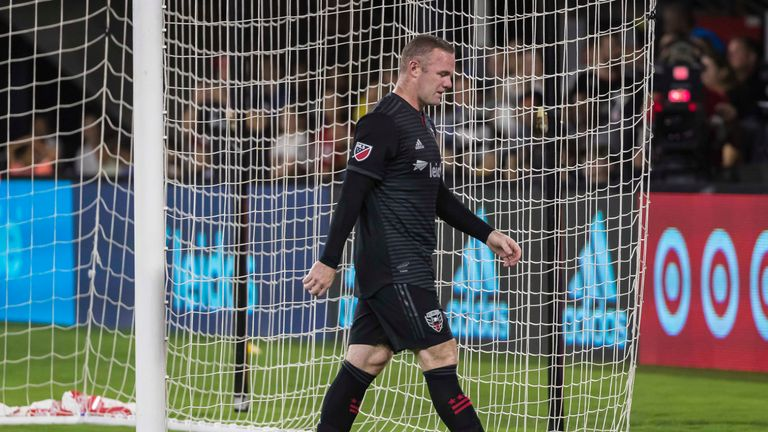 D.C. United forward Wayne Rooney leaves the pitch after receiving a red card against the New York Red Bulls (Pic: USA Today/MLSsoccer)