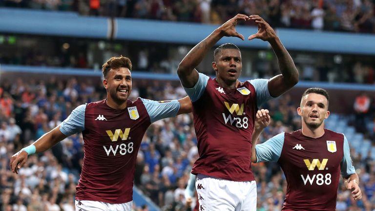 Wesley celebrates scoring for Aston Villa against Everton