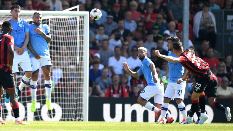 Harry Wilson scores for Bournemouth against Manchester City.