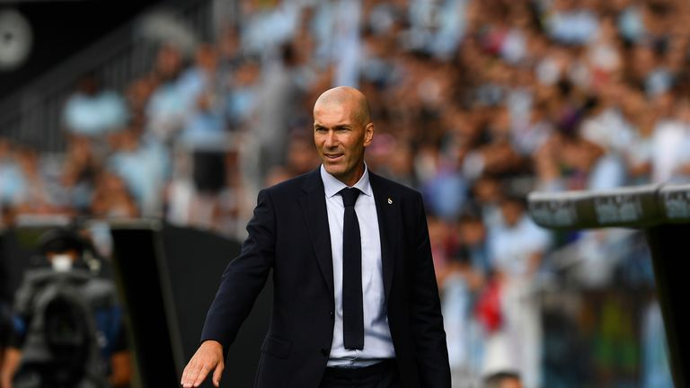 VIGO, SPAIN - AUGUST 17: Head coach Zinedine Zidane of Real Madrid during the Liga match between RC Celta de Vigo and Real Madrid CF at Abanca-Bala..dos on August 17, 2019 in Vigo, Spain. (Photo by Octavio Passos/Getty Images)