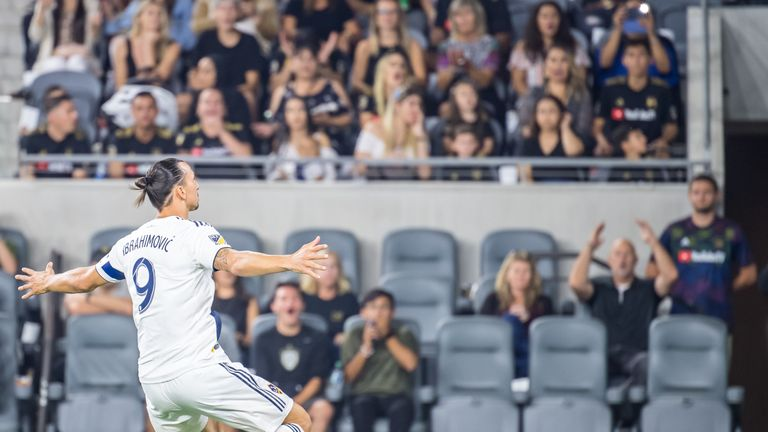 LOS ANGELES, CA - AUGUST 25:  Zlatan Ibrahimovic #9 of Los Angeles Galaxy celebrates his first goal of the night during Los Angeles FC's MLS match against Los Angeles Galaxy at the Banc of California Stadium on August 25, 2019 in Los Angeles, California.  The match ended in a 3-3 draw.  (Photo by Shaun Clark/Getty Images) *** Local Caption *** Zlatan Ibrahimovic