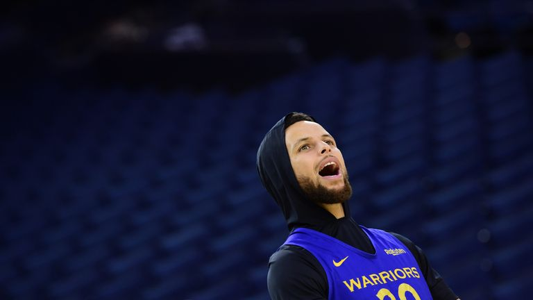 Stephen Curry pictured during his Golden State Warriors warm-up