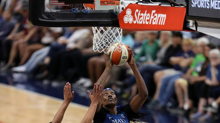 Sylvia Fowles scores at the basket during the as Lynx's shock win over the Sun