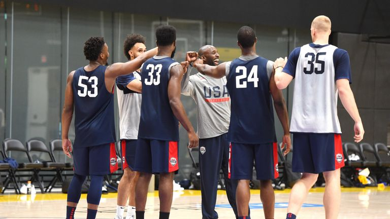 Assistant coach Lloyd Pierce with Team USA players Derrick White, Donovan Mitchell, Harrison Barnes, Jaylen Brown and Mason Plumlee