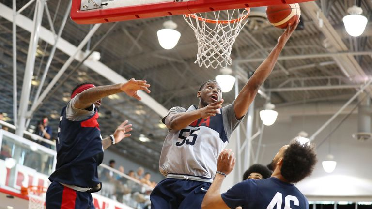 Thaddeus Young scores with a lay-up during USA Basketball camp in Las Vegas