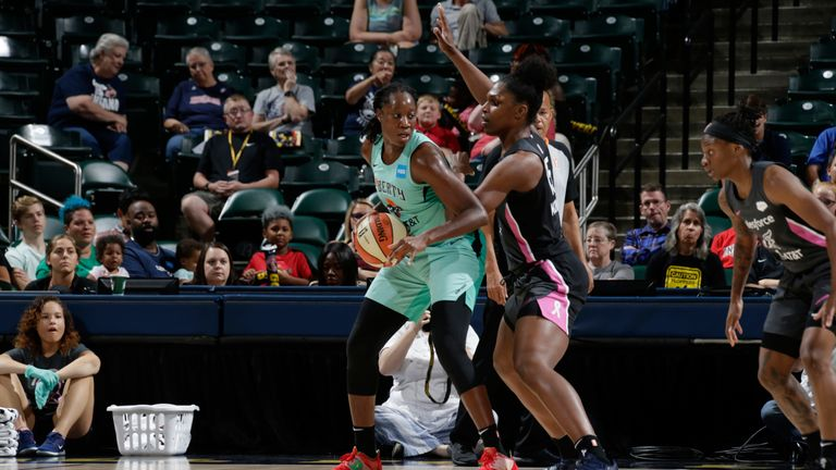 Tina Charles works in the post against the Indiana Fever