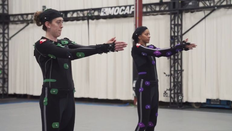Breanna Stewart and Candace Parker are scanned with motion-capture technology ahead of their NBA 2K debuts