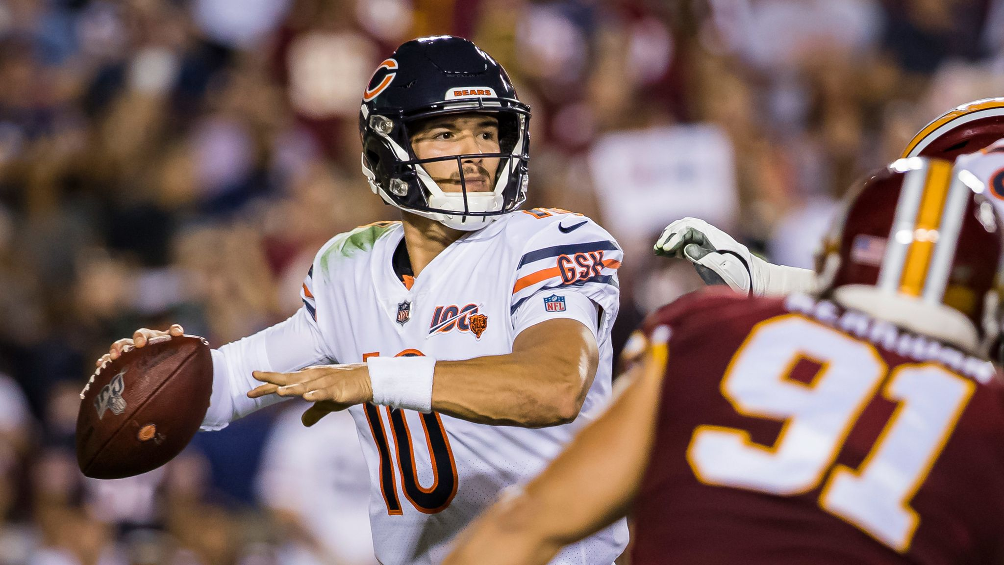 innovative design 76f7c bbcff Mitchell Trubisky throws three touchdowns as Chicago Bears ...