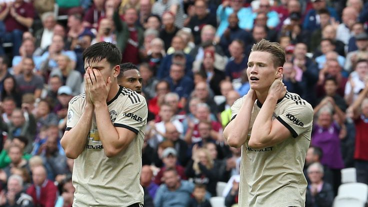 Harry Maguire and Scott McTominay look horrified during Manchester United's 2-0 defeat to West Ham