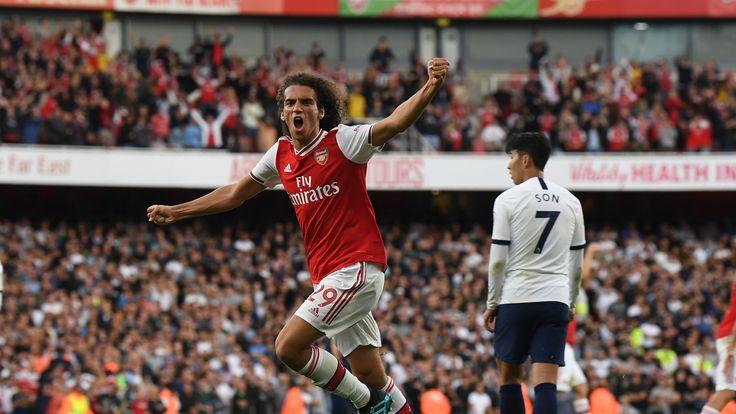 Matteo Guendouzi celebrates for Arsenal against Tottenham in September 2019